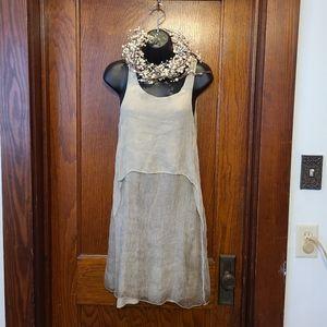 Cosmo **Made in Italy silk overlay sheath dress